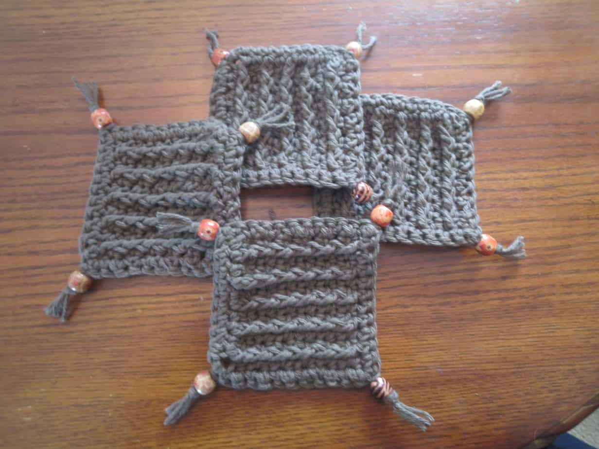 crochet beaded coasters free pattern