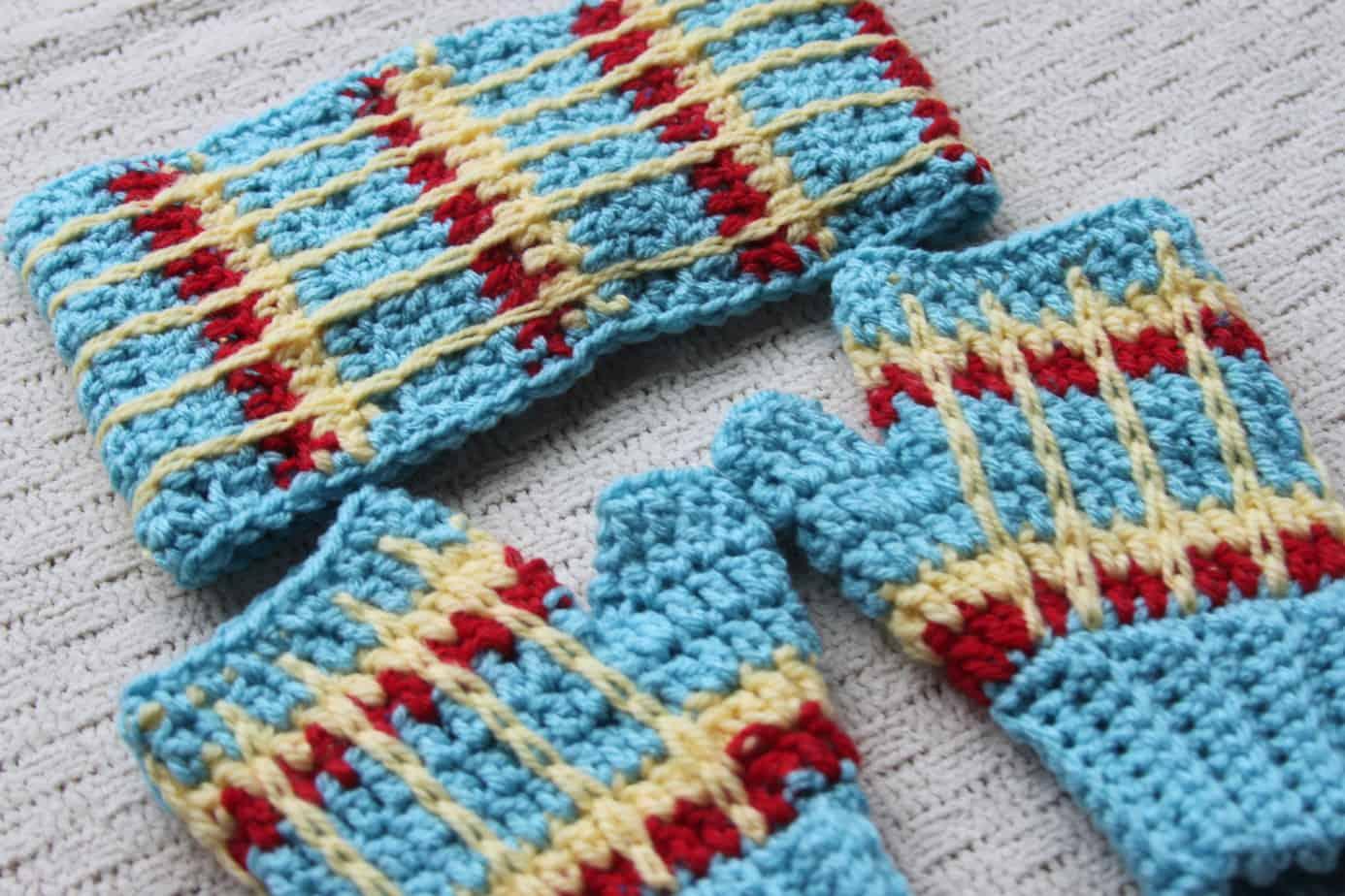 crochet tartan plaid headband free pattern