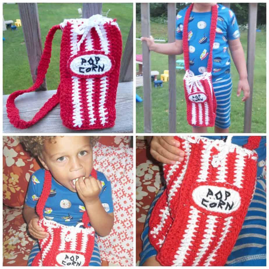 crochet popcorn bag free pattern