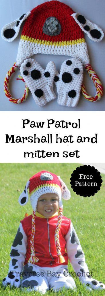 crochet paw patrol marshall hat free pattern
