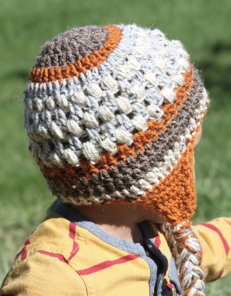 Will fit child age 1-5 yrs Measures 18-20 head circumference. Crochet toddler  Mouse inspired beanie with earflaps