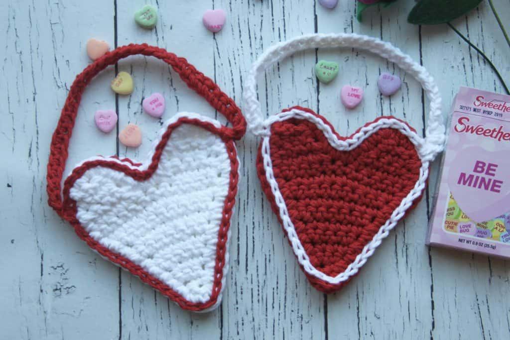 crochet heart bags free pattern