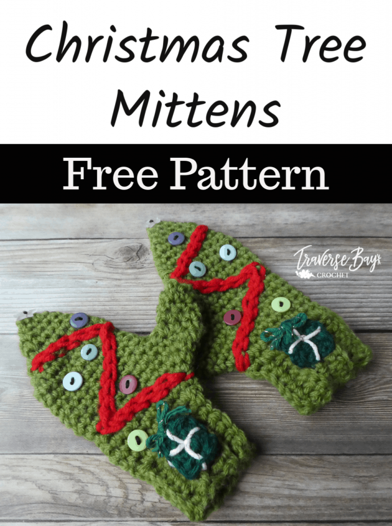 crochet Christmas tree mittens free pattern