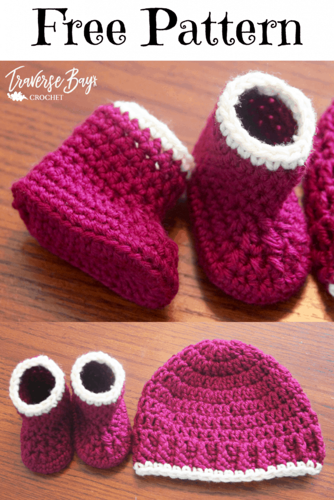 easy crochet baby booties and hat free pattern