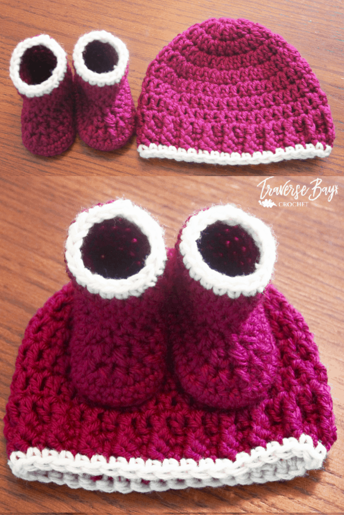 easy baby hat and bootie set free pattern