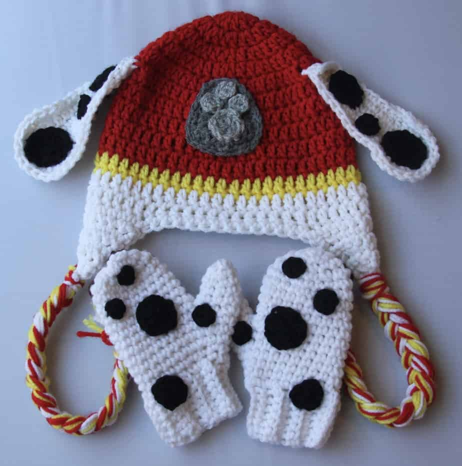 Crochet Marshall Paw Patrol toddler hat and mittens set -