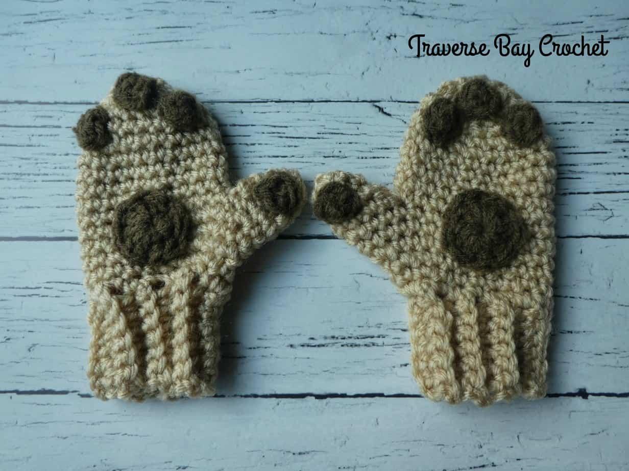 crochet paw mittens free pattern