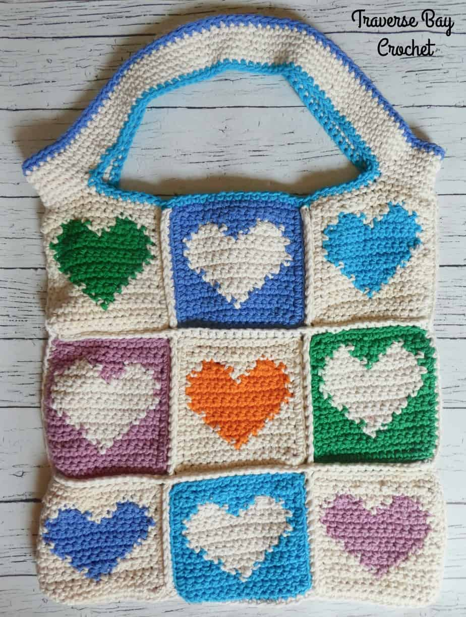 crochet heart tote bag free pattern