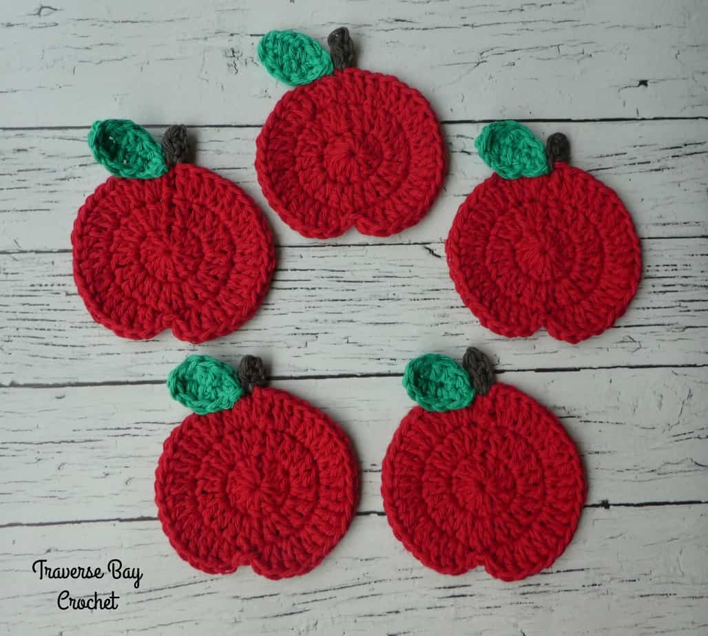 crochet apple coasters free pattern
