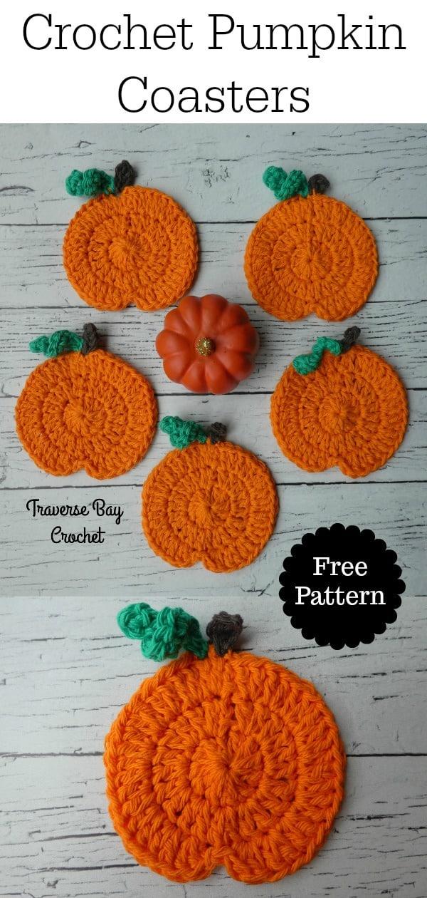 crochet pumpkin coasters free pattern