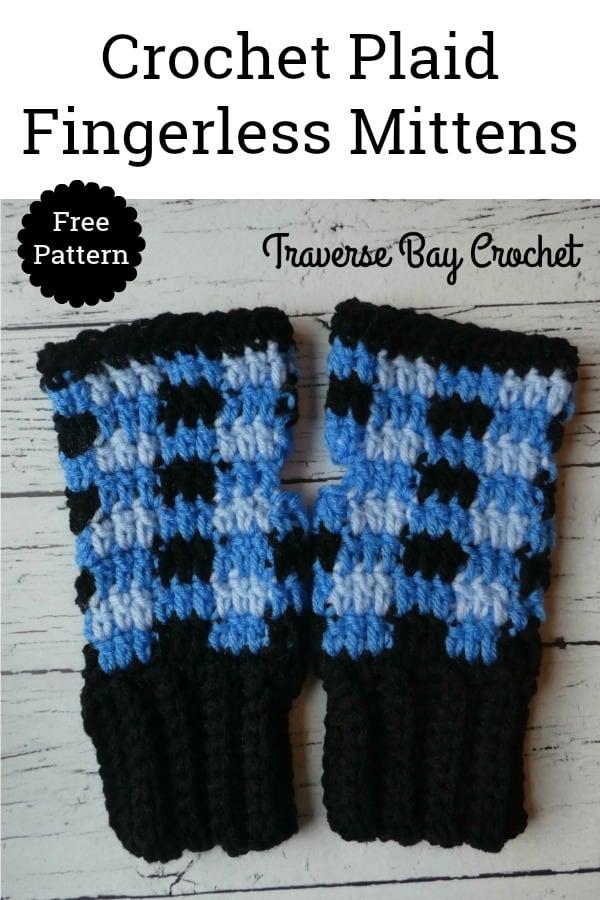 crochet plaid fingerless mittens free pattern