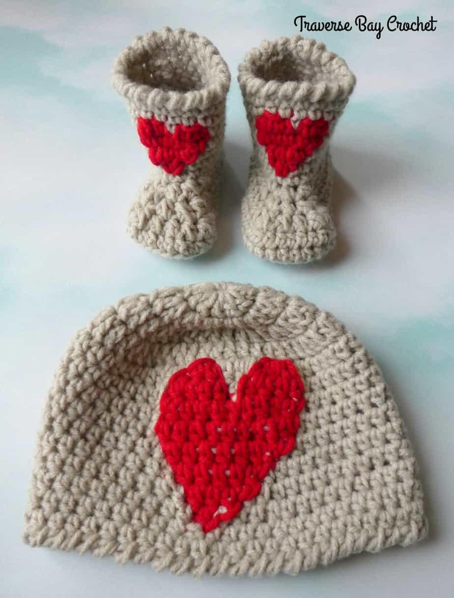 crochet baby heart hat free pattern