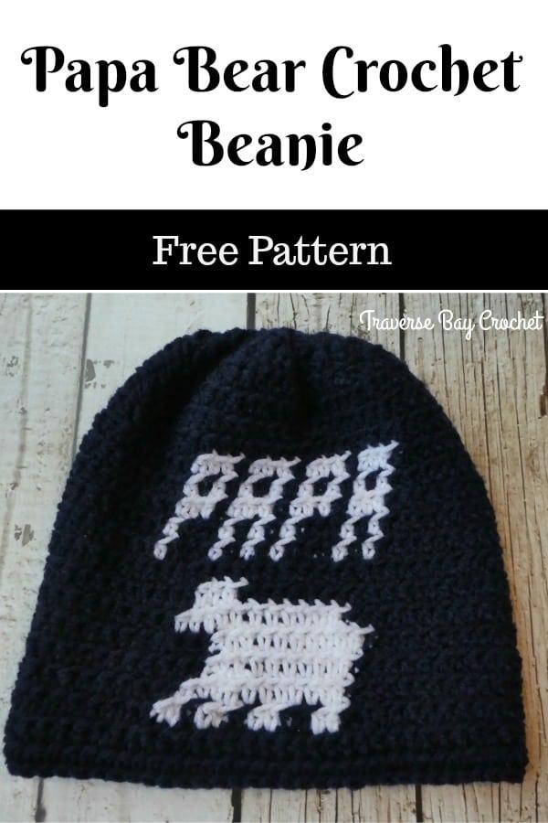 crochet papa bear beanie free pattern