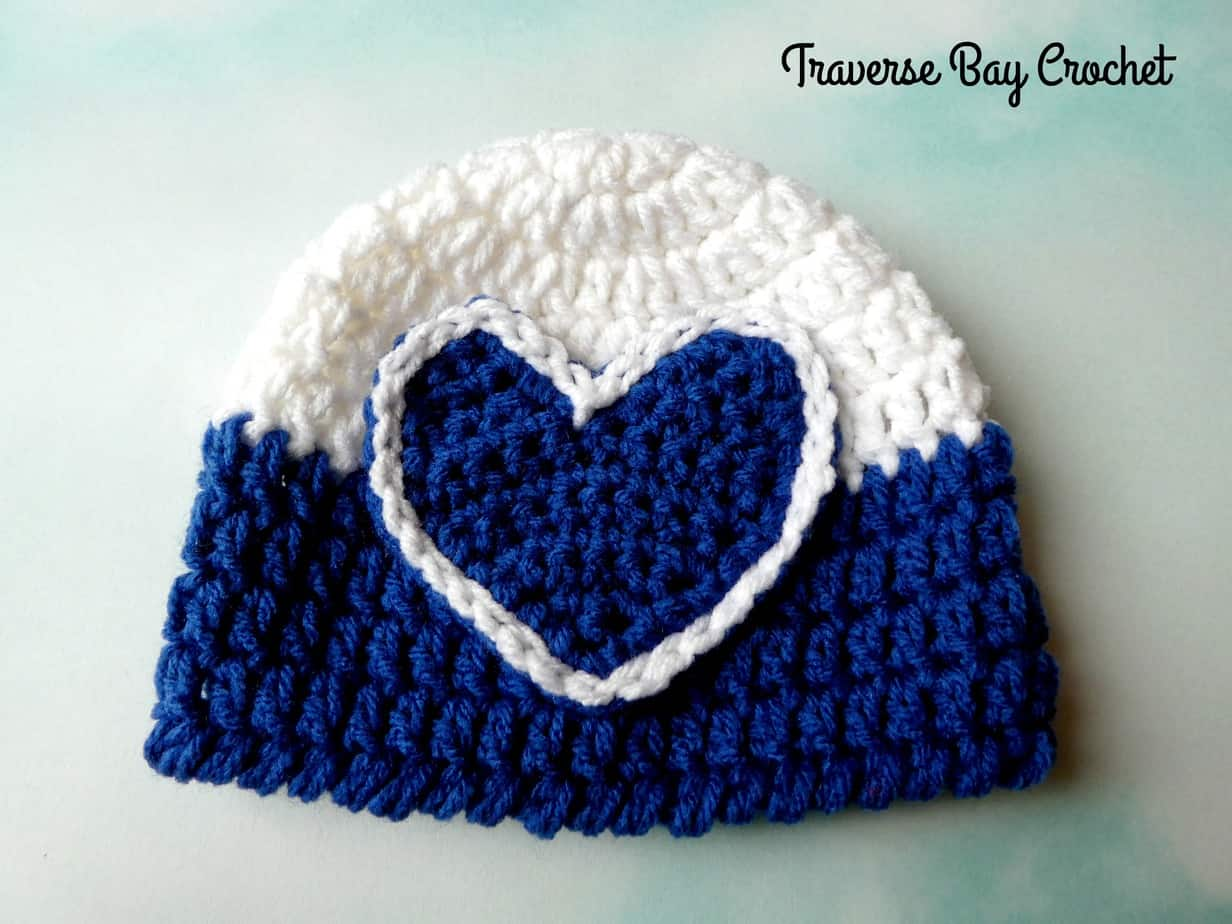 crochet heart baby hat free pattern