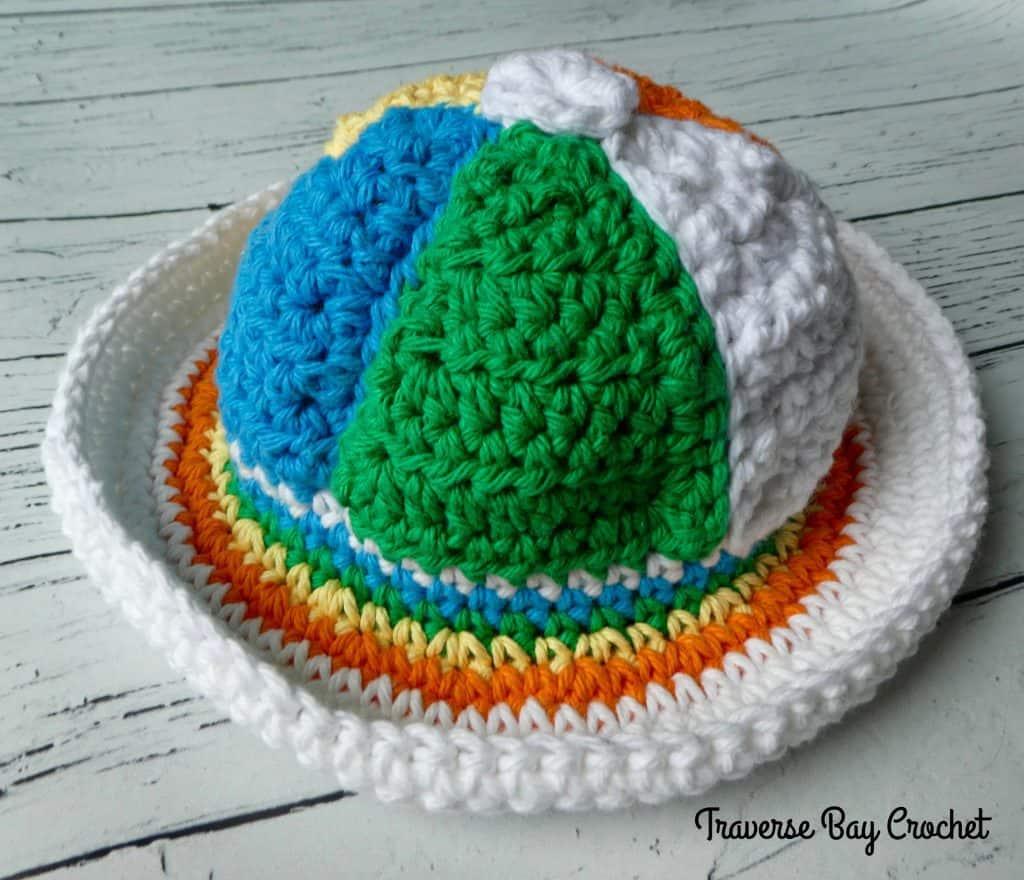 beach ball crochet sun hat pattern