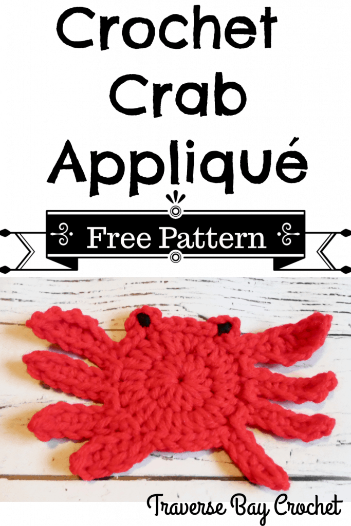 crochet crab applique