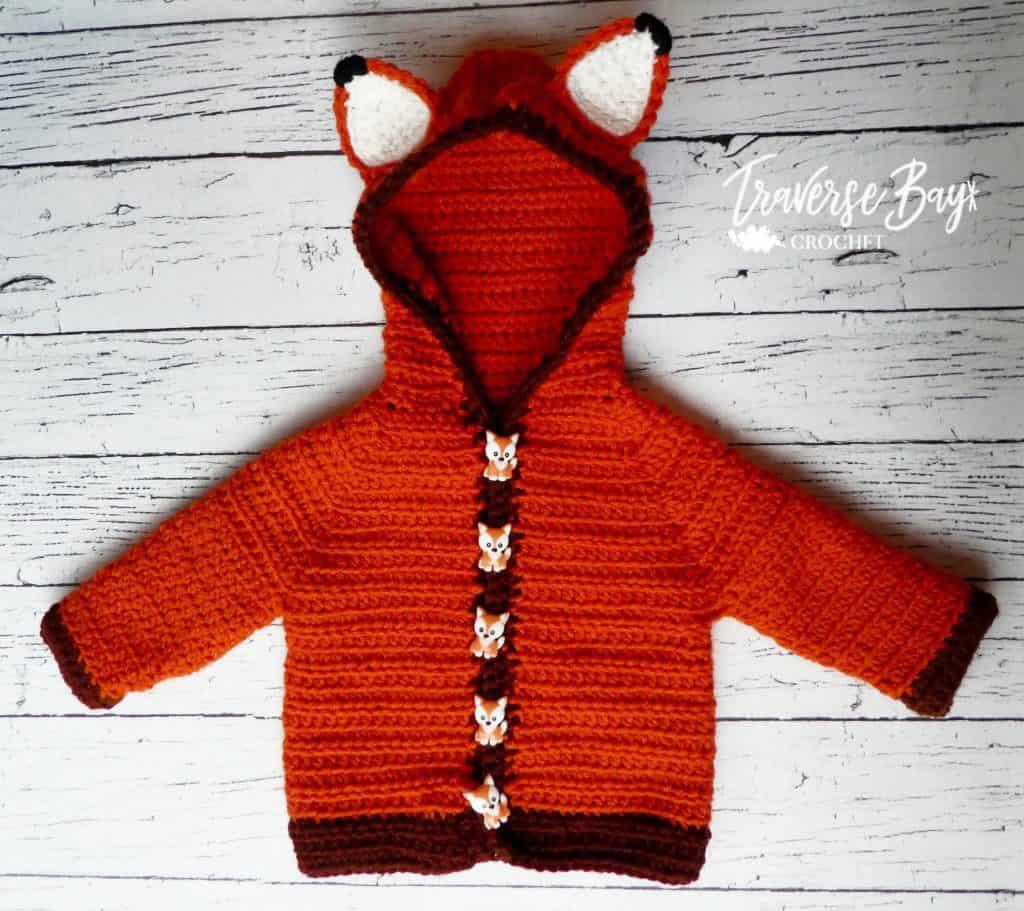 fox crochet baby cardigan free pattern