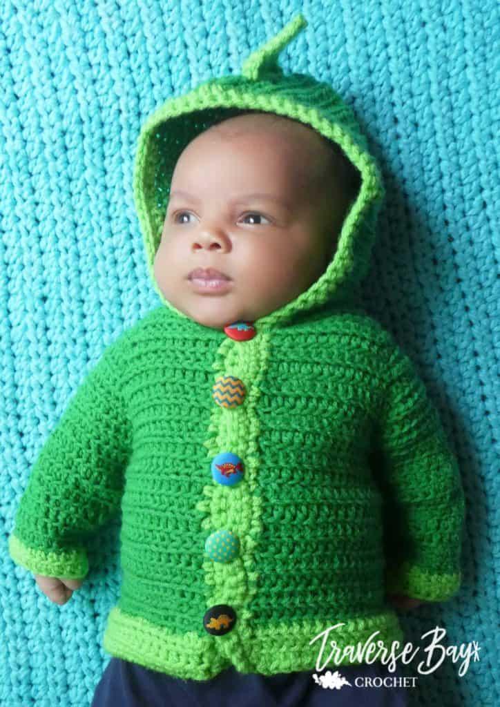 crochet dinosaur cardigan free pattern