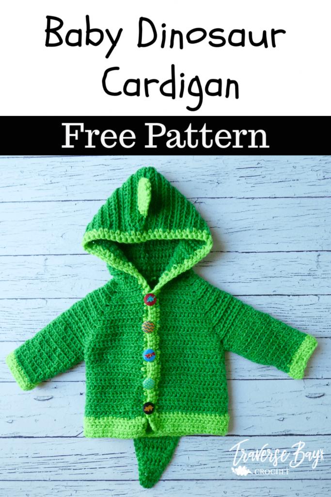crochet baby cardigan dinosaur free pattern