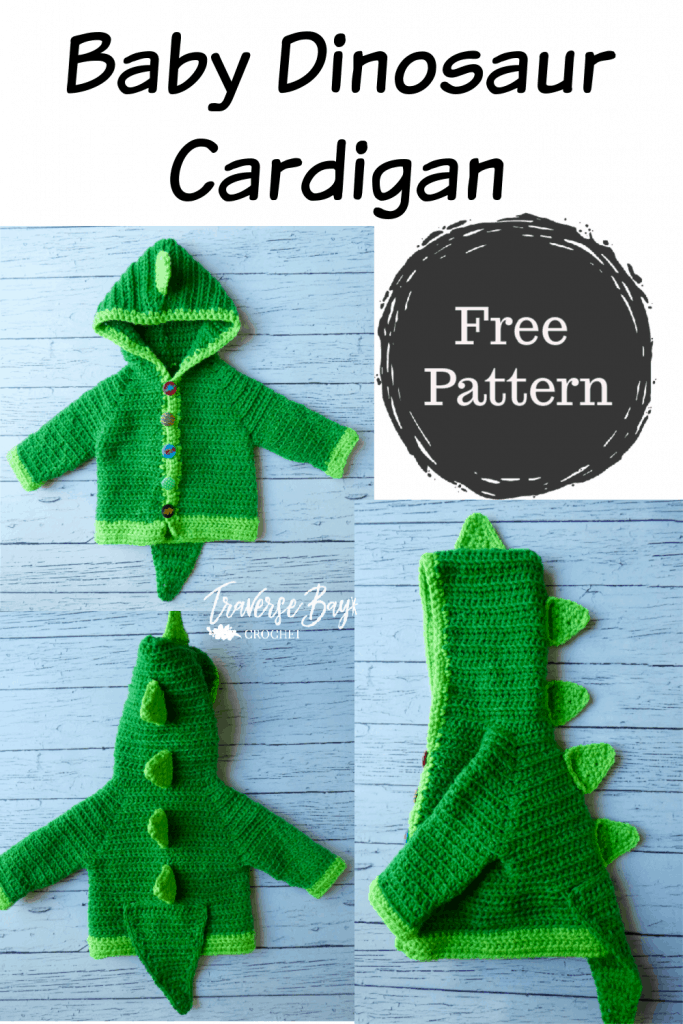 baby crochet dinosaur cardigan free pattern