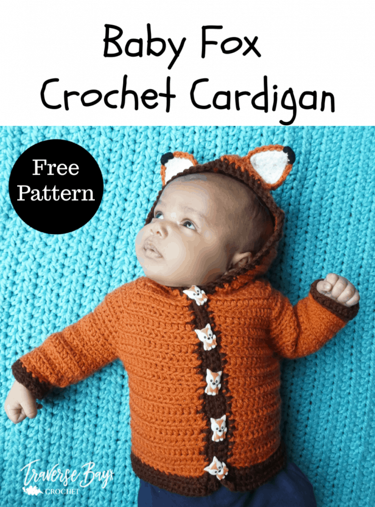 crochet baby fox cardigan free pattern