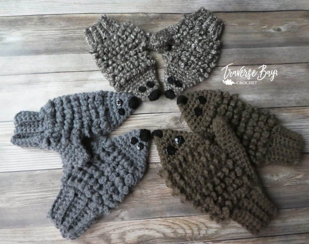 crochet child hedgehog mittens free pattern