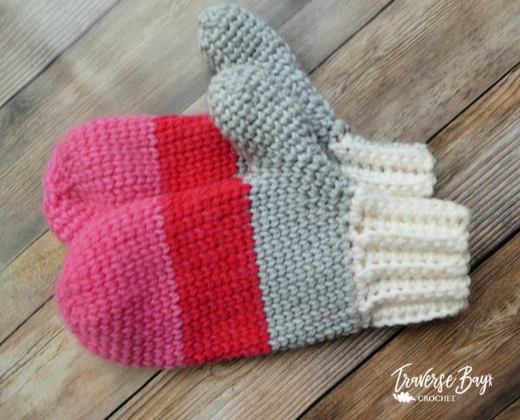 color block crochet mittens free pattern