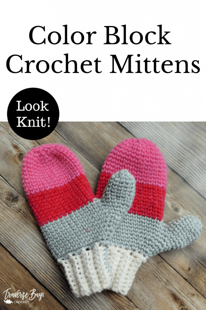 crochet color block mittens free pattern