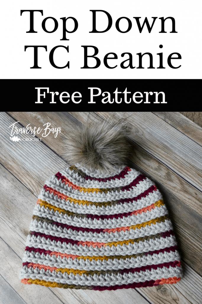 crochet stripe pom beanie free pattern