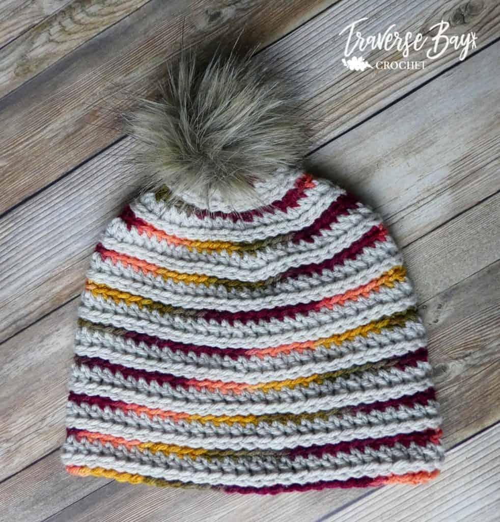 crochet stripe beanie free pattern