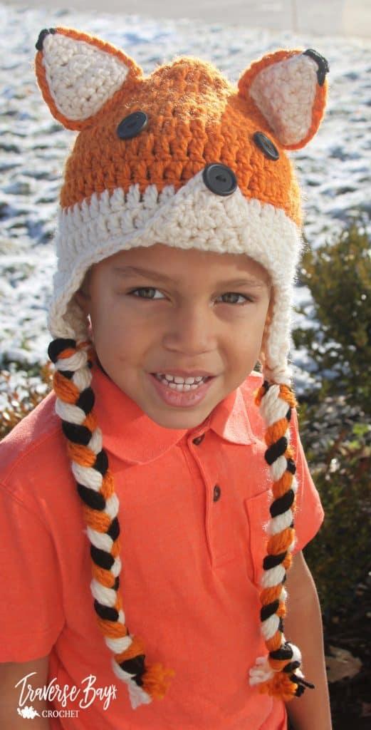 crochet fox earflap hat free pattern