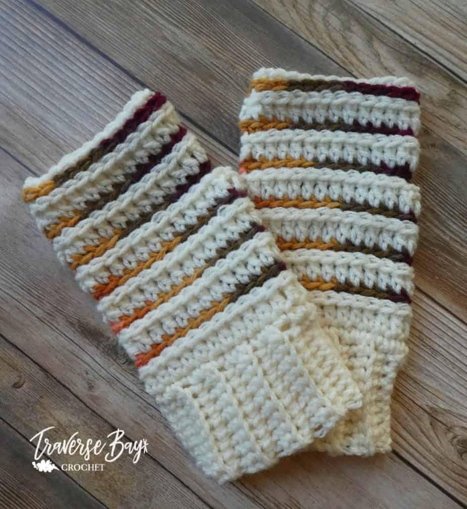crochet stripe fingerless gloves free pattern