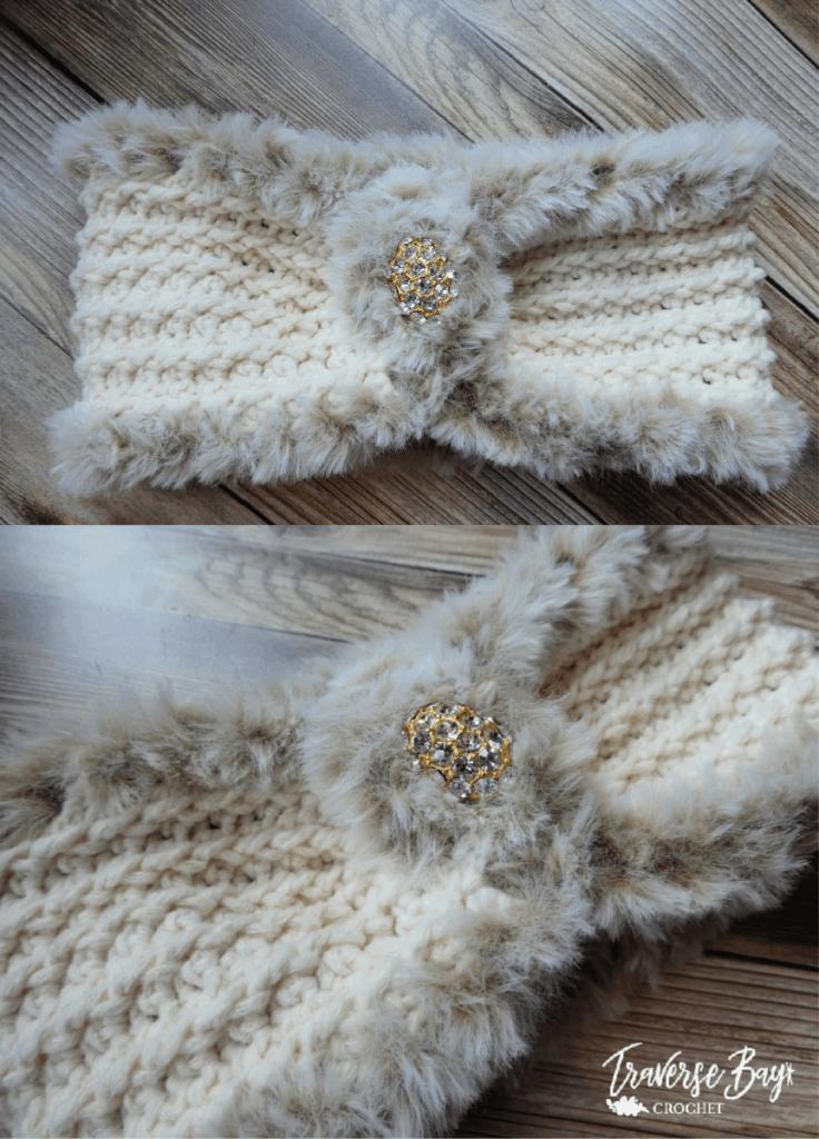 crochet faux fur headband free pattern