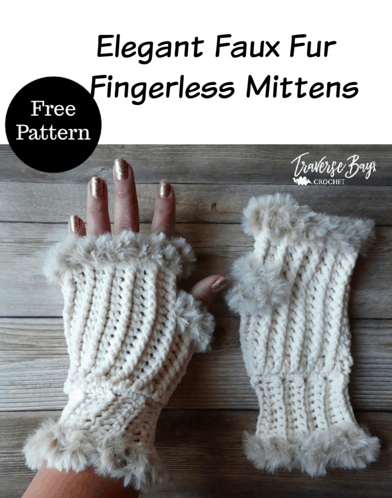 crochet fur fingerless gloves free pattern