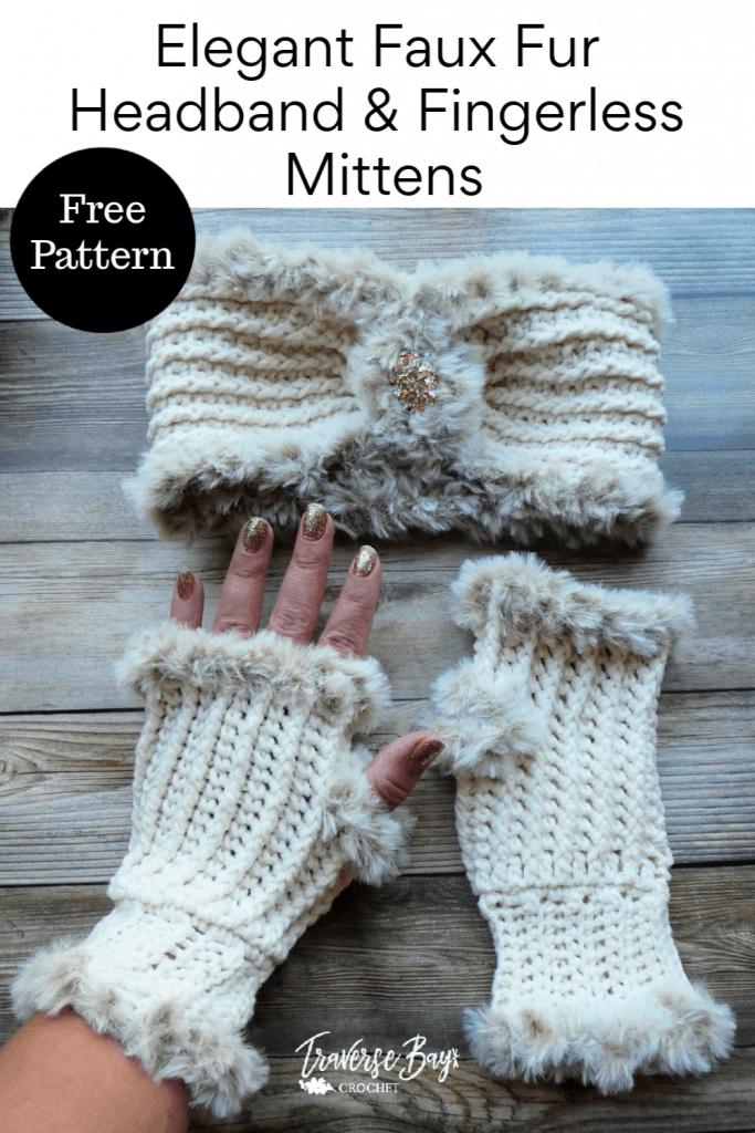 crochet fur fingerless mittens