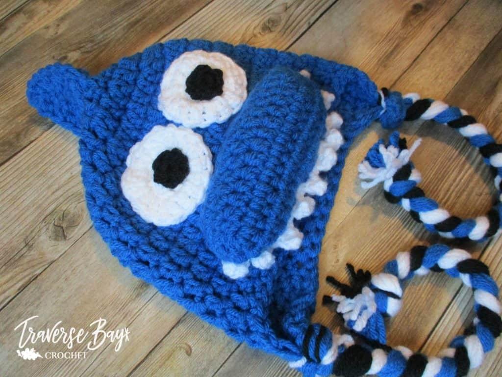 crochet shark hat free pattern