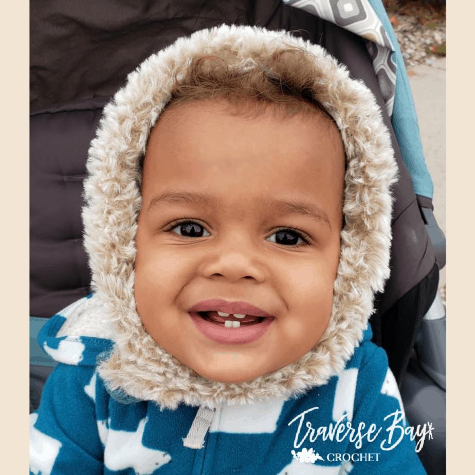 Stay On Crochet Fur Baby Bonnet