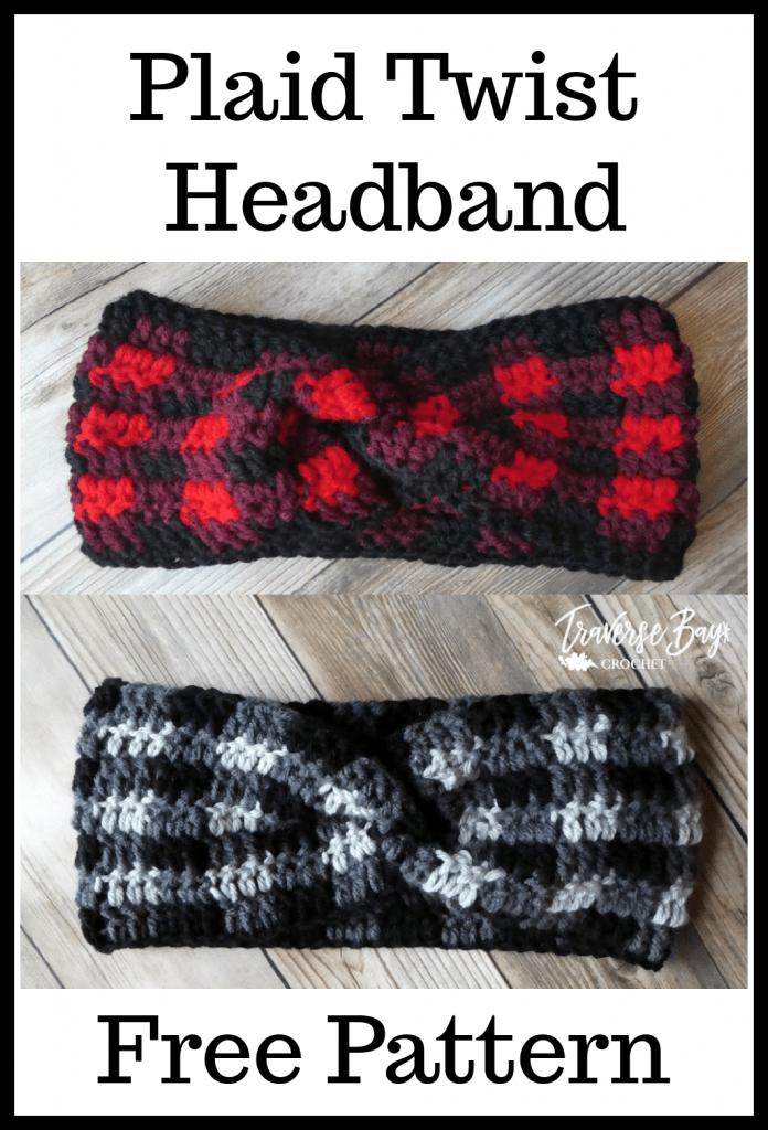 crochet plaid twist headband pattern