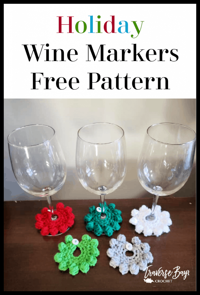 crochet wine glass markers free pattern