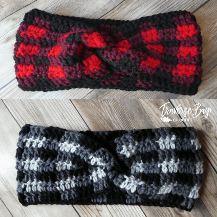 crochet plaid twist headband free pattern