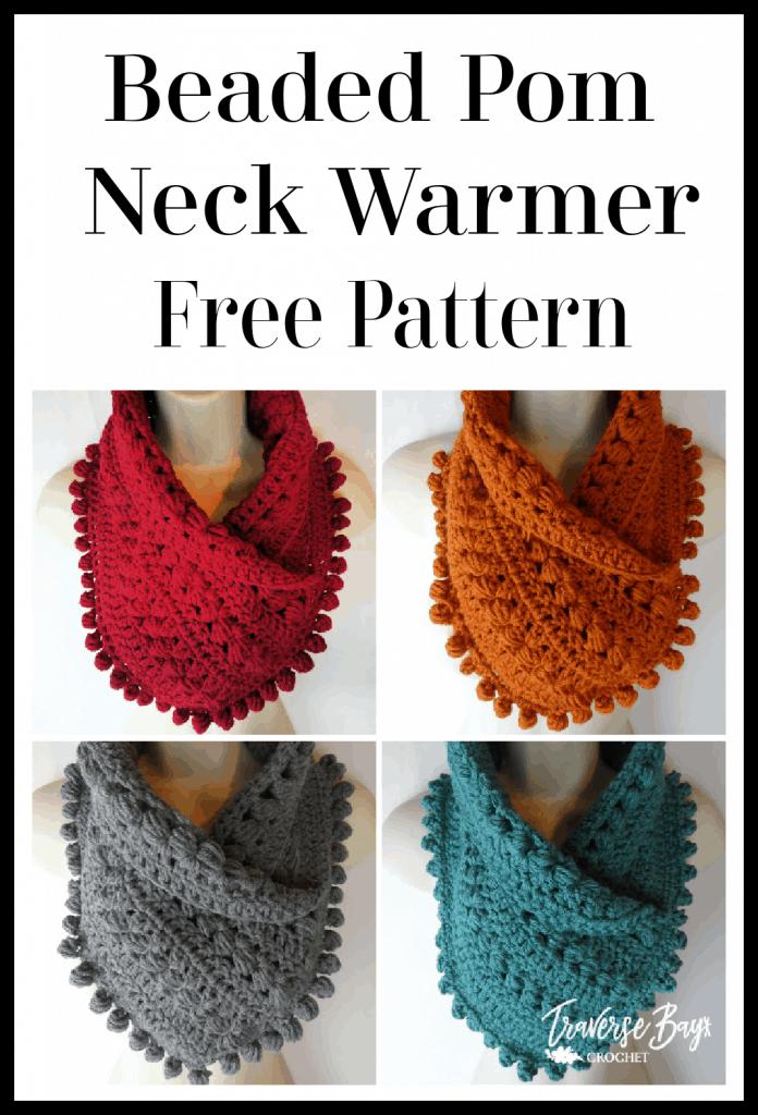 crochet pom scarf free pattern