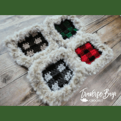 crochet fur coaster free pattern