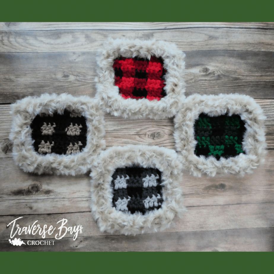 crochet faux fur coaster pattern