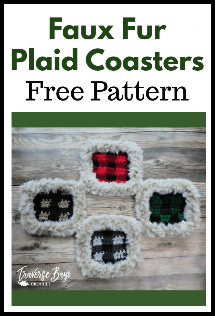 crochet plaid coaster free pattern