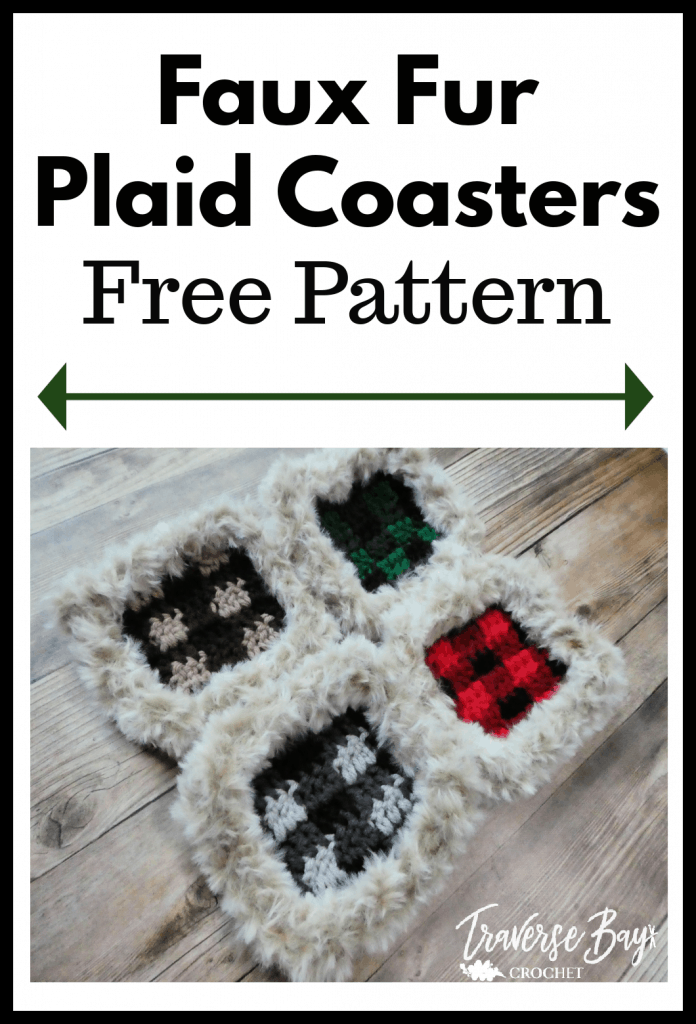 crochet plaid coasters