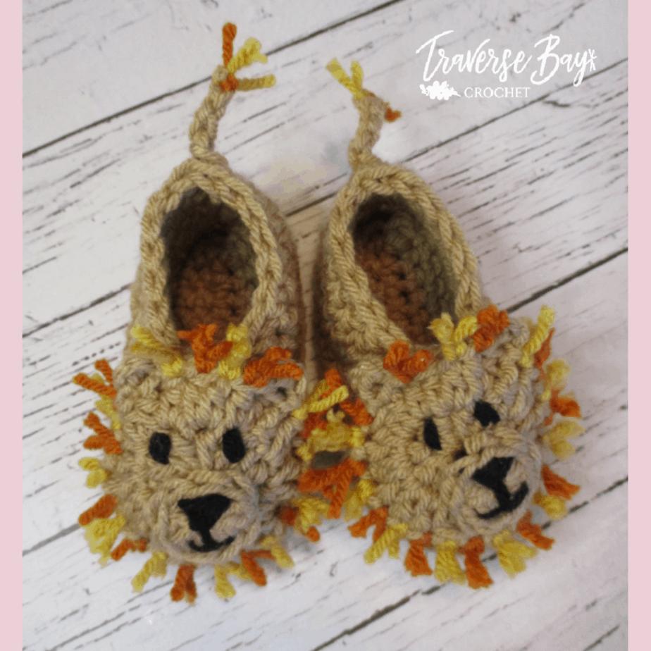 Crochet Lion Baby Booties