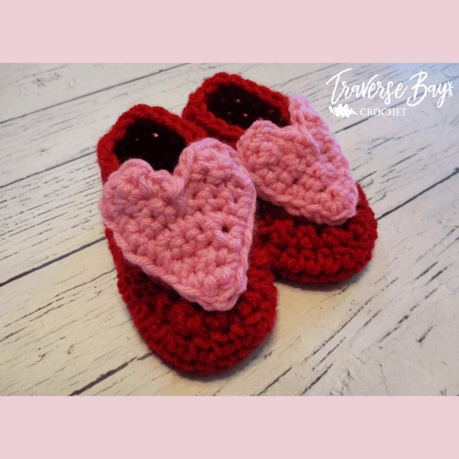 crochet baby heart booties
