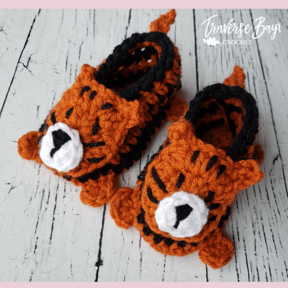 crochet tiger baby booties free pattern