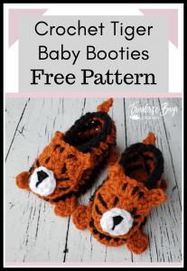 crochet tiger baby booties