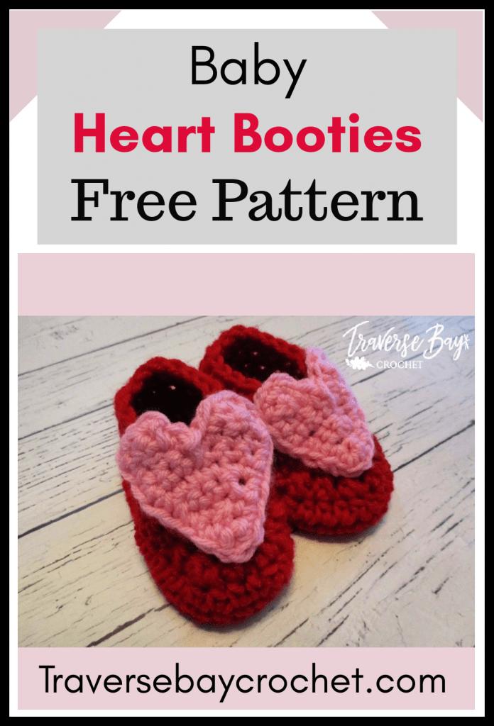 crochet heart baby booties